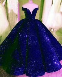 Dark Royal Blue Quinceanera Dress Shiny Ball Evening Prom Gowns Off The Shoulder