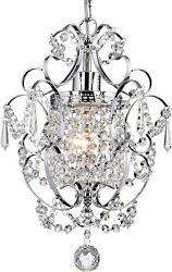 Mini Crystal Chandelier Pendant Light Fixture Vintage Small Chrome Hanging Clear $89.99