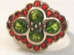 Victorian Peridot Garnet Gold On Sterling Silver Cocktail Friendship Ring Sz 6 $34.80