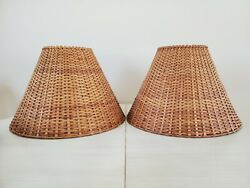 Vintage Pair Medium Brown Wicker Rattan Large Lamp Shades Beautiful Set $98.00