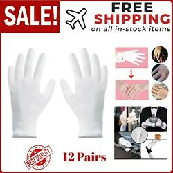12 Pairs M White Cotton Gloves for Dry Hand Moisturizing Cosmetic Eczema White $15.31