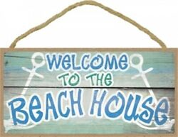 Welcome To The Beach House Beach Ocean Wall 10x5 NEW Hanging Wood Sign D23 $9.99