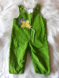 Vintage Boys 12 Month Overalls Romper Lime Green Air Plane Corduroy Made In USA $8.99