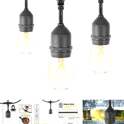 48 Feet Outdoor String Lights with 15 Hanging Sockets and S14 Edison Bulbs UL... $42.70