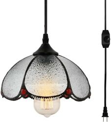Tiffany Style Hanging Lamp Light Fixture Chandelier Glass Ceiling Mount Plug In $73.95