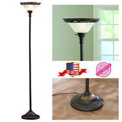 Floor Lamp 70quot; Bronze Victorian Style Frosted Torchiere Satin Copper Finish New $42.81