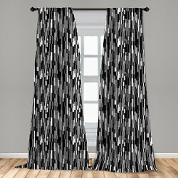 Black and White Microfiber Curtains 2 Panel Set Living Room Bedroom in 3 Sizes $23.99