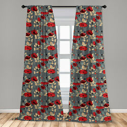 Poppy Microfiber Curtains 2 Panel Set for Living Room Bedroom in 3 Sizes $23.99