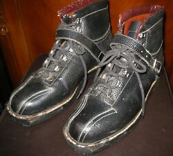 Vtg downhill cross country ski boots Made In Italy Black Leather Size 10M $74.85