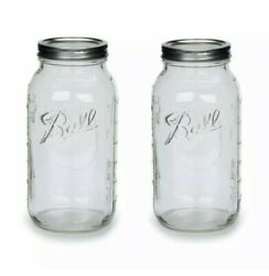 Ball Clear Glass Half Gallon 64Oz Mason Jar with Lid Band Wide Mouth 2 Pack $24.99