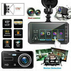 4.0quot; Touch Screen Car Camera Dual Dash Cam Front Rear Inside Night Vision G sens $34.99