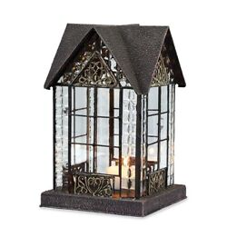 Glass and Metal Architectural Candle Lantern Bronze Tone Devonshire House $32.71