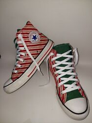 Converse All*Star Christmas Candy Cane Red White Green Striped Mens 5 Womens 7 $50.00