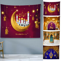 Eid Mubarak Tapestry Ramadan Moon Wall Hanging For Photographic Background $11.89