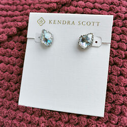 Kendra Scott Dichroic Glass Tessa Silver Stud Earrings NEW WITH POUCH $25.99