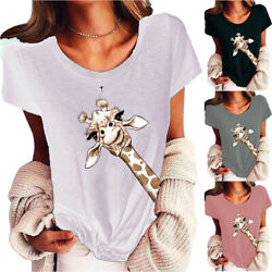 Womens Giraffe Print Short Sleeve T Shirt Holiday Casual Tops Blouse Plus Size $17.09