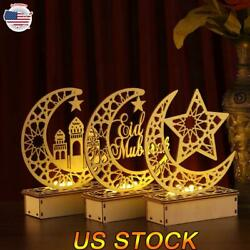 Eid DIY Wooden LED Moon Night Light Eid Mubarak Ramadan Wood Crafts Lamp Party $12.34
