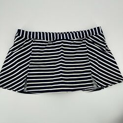 Lands#x27; End Swim Skort Skirt Navy Blue White Stripe Bathing Women#x27;s Plus Size 18 $19.99