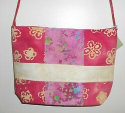 Handmade Shades of Hot Pink and Cream Tote Purse Cross Body Strap $19.99