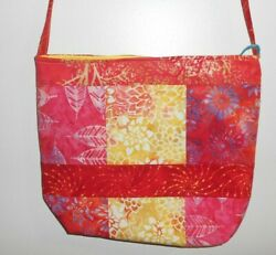 Handmade Shades of Hot Pink amp; Very Light Gold Tote Purse Cross Body Strap $21.99