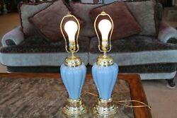 Powder Blue Matching Set Of 2 Vintage Glass Electric 3 Way Small Table Lamps $129.99