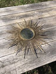 VTG Mid Century 1940s 1950s Sunburst Gold Metal Wall Mirror 16quot; Across Beautiful $119.99