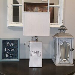 Rae Dunn FAMILY Lamp. Ivory With LL Black Text HTF Magenta $65.00