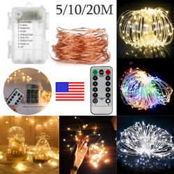 50 100 200 LEDs Battery Operated Mini LED Copper Wire String Fairy Lights Remote $7.55