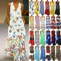 Women#x27;s Boho Sleeveless Maxi Dress Summer Beach Casual Tank Long Sundress Plus $16.52