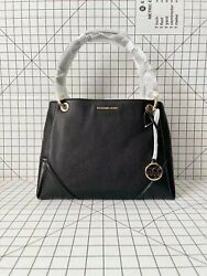 Michael Kors Nicole Large Shoulder Tote Pebbled Leather Bag In Black
