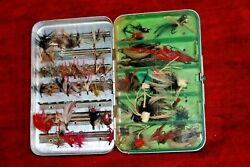 VINTAGE PERRINE # 99 FLY FISHING BOX WITH FLIES AND POPPERS LOADED TROUT PANFISH $39.99