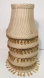 Lot of 5 Chandelier Shades Stripe Beaded Clip On Golden Amber $39.99