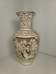 Vintage 6 1 2quot; Tall Chinese White Cream Carved Cinnabar Vase floral flowers $60.00