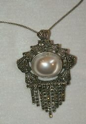 VINTAGE Silver Marcasite Pearl Pendant Necklace Brooch Pin STUNNING $29.75