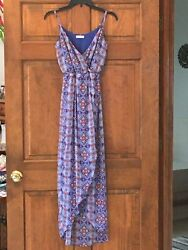 LUSH Maxi Dress Size Small Blue with slit up the front of dress $10.00