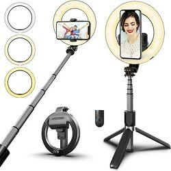 Tripod Stand LED Dimmable Portable Selfie Light with Phone Holder Selfie Stick $12.99