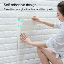10Pcs 3D Tile Brick Wall Sticker Self adhesive Waterproof Foam Panel Wallpaper $9.99