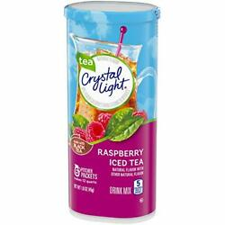 CRYSTAL LIGHT RASPBERRY ICED TEA Powdered DRINK MIX 5 Pitcher Packs x 1 Can $8.29