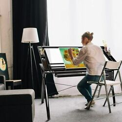 Tiltable Glass Drafting Table Artists Drawing Desk Adjustable with 2 Drawers $159.90