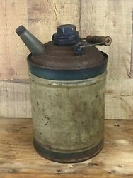 Vintage Kerosene Can With Wooden Bail Handle Metal One Gallon $35.00