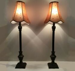 Pair of buffet lamps. Tall 31quot;. Neo classical w beaded shades. Espresso brown. $169.00
