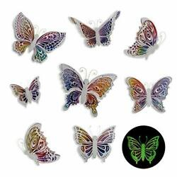 Butterfly Wall Decals Stickers 3D Decor Glow in the Glow Butterfly 8 Pcs $22.14