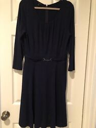 TALBOTS Navy Blue Dress Silver Buckle Full Skirt Stretch Size 10 Medium