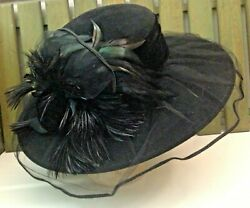 DEBORAH RHODES Hat Wool Velvet Tulle Feathers Satin Church Sunday Best NWT $378 $89.00
