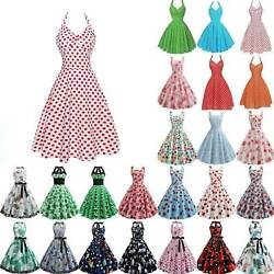 For Womens Vintage Rockabilly Swing Dress Pinup Evening Party Dresses Plus Size $20.99