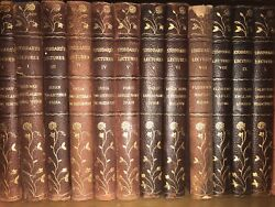 OLD LEATHER BINDINGS set Gilded Floral TRAVEL Stoddard Antiquarian Old 24volumes $325.00