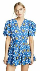 Rhode Resort Vivienne Floral Printed Mini Dress Blue Cotton Resort S New 202916 $229.93