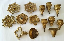 LOT of Candle holders part Antique Cast Iron Ornate hanging oil Lamp parts $89.00