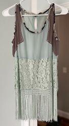 Gimmicks Bke by Buckle tank top fringe small $24.00