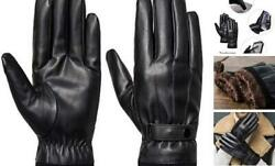 Men#x27;s Winter Gloves Leather Touchscreen Snap Closure Cycling Glove Large Black $15.34